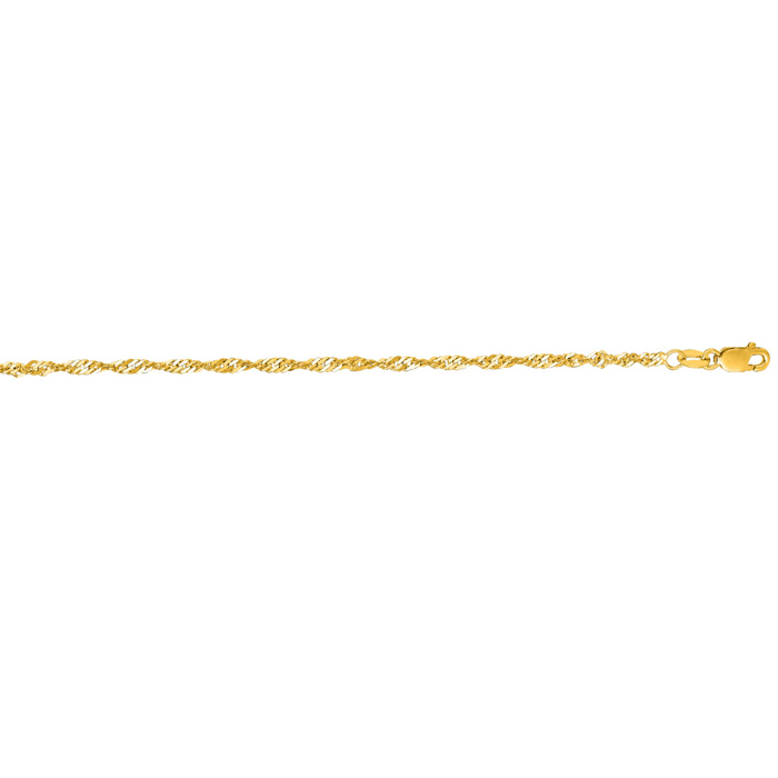 14K Yellow Gold (1.6 g) 2.1mm 7 Inch Singapore Chain Bracelet by