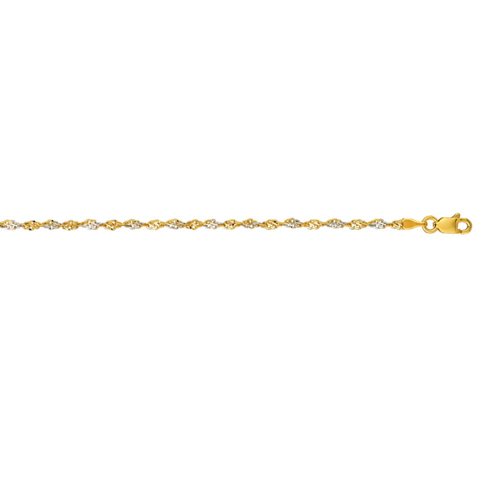 14K Yellow Gold (2.7 g) 2.0mm 18 Inch Singapore Chain Necklace by