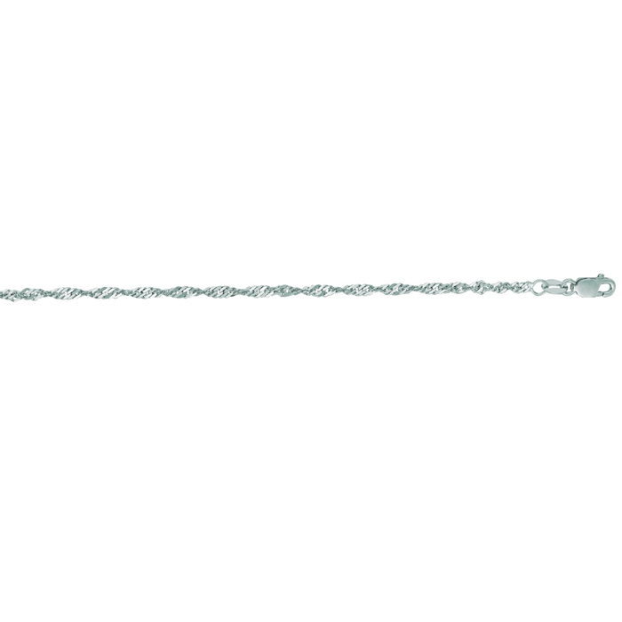 14K White Gold (1.2 g) 2.1mm 7 Inch Singapore Chain Bracelet by S