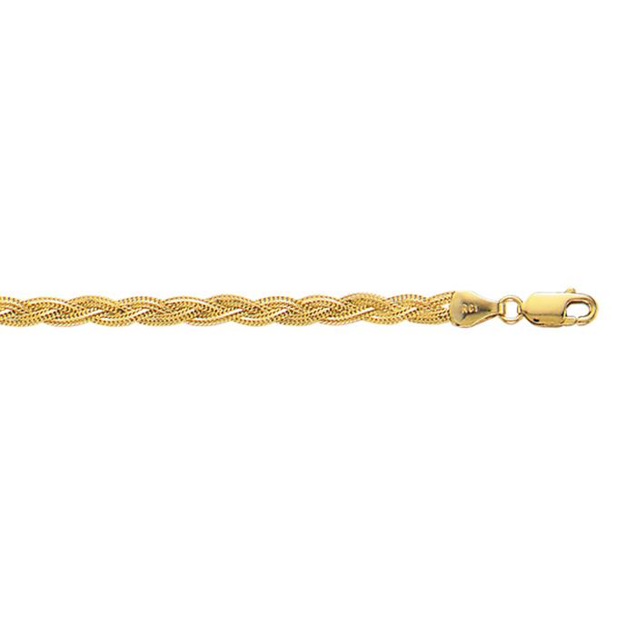 14K Yellow Gold (3 g) 3.5mm 7 Inch Braided Fox Chain Bracelet by SuperJeweler