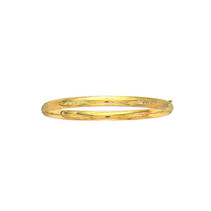14K Yellow Gold (4.9 g) 5.0mm 7 Inch Florentine Round Dome Classic Bangle Bracelet by SuperJeweler