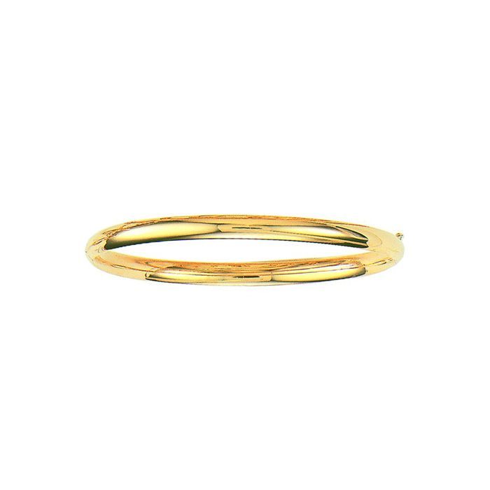 14K Yellow Gold (5.3 g) 5.0mm 8 Inch Plain Shiny Round Dome Classic Bangle Bracelet by SuperJeweler