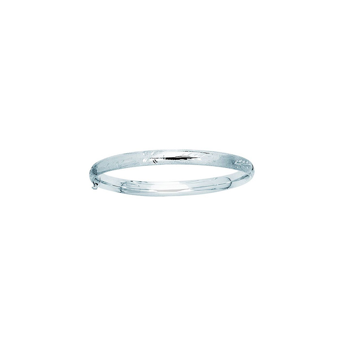 14K White Gold (4.8 g) 5.0mm 7 Inch Florentine Round Dome Classic Bangle Bracelet by SuperJeweler
