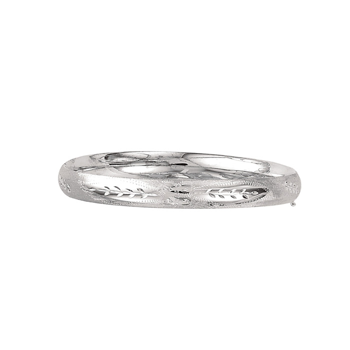 14K White Gold (9.7 g) 8.0mm 7 Inch Florentine Round Dome Classic Bangle Bracelet by SuperJeweler