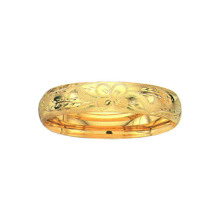 14K Yellow Gold (19.2 g) 13.5mm 7 Inch Florentine Round Dome Classic Bangle Bracelet by SuperJeweler