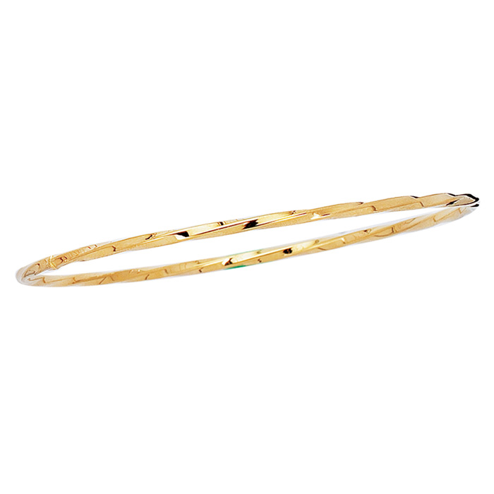 14K Yellow Gold (3 g) 2.50mm 8 Inch Shiny Twisted Round Tube Stac