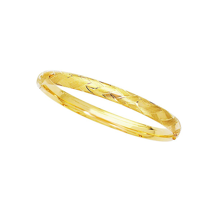 14K Yellow Gold (2.6 g) 6.0mm 7 Inch Shiny Textured Sparkle Bangl