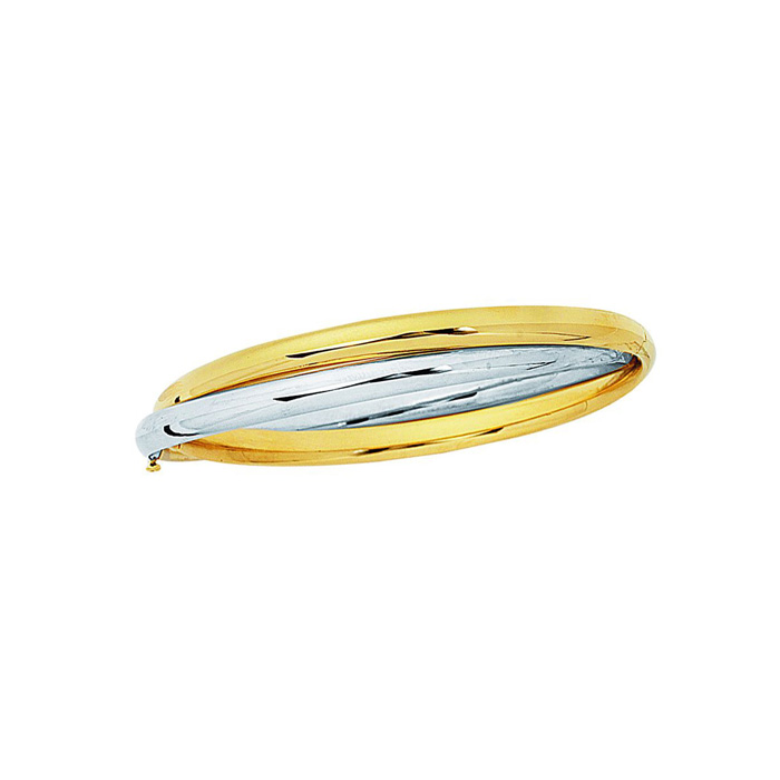 14K Yellow & White Gold (10.3 g) 7 Inch Shiny Fancy Double Bangle