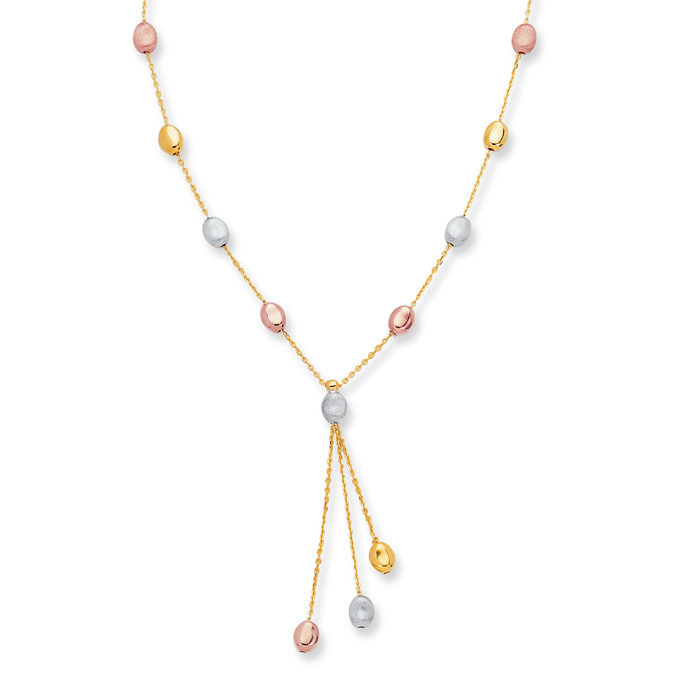 14K Yellow, White & Rose Gold (3 g) 10 Inch Tri-Color Pebble Ankl