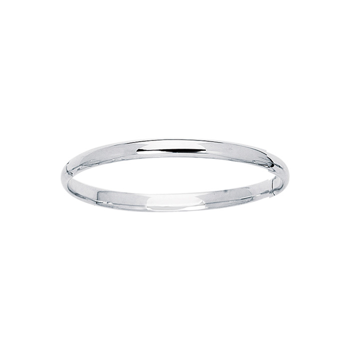 14K White Gold (3.1 g) 5.5mm 5.50 Inch Childrens All Shiny Bangle Bracelet by SuperJeweler