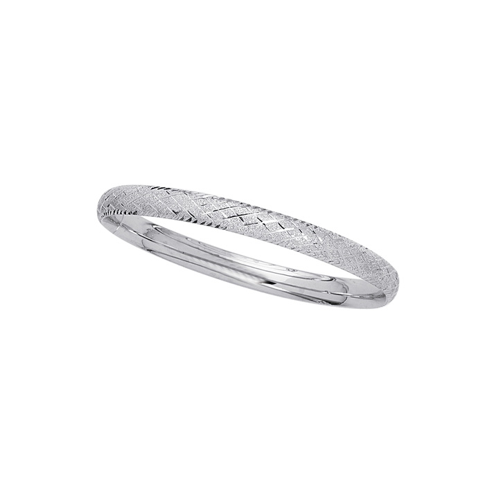 14K White Gold (3.7 g) 5.5mm 5.50 Inch Childrens Shiny Diamond Cut Bangle Bracelet w/ Diamond Pattern by SuperJeweler