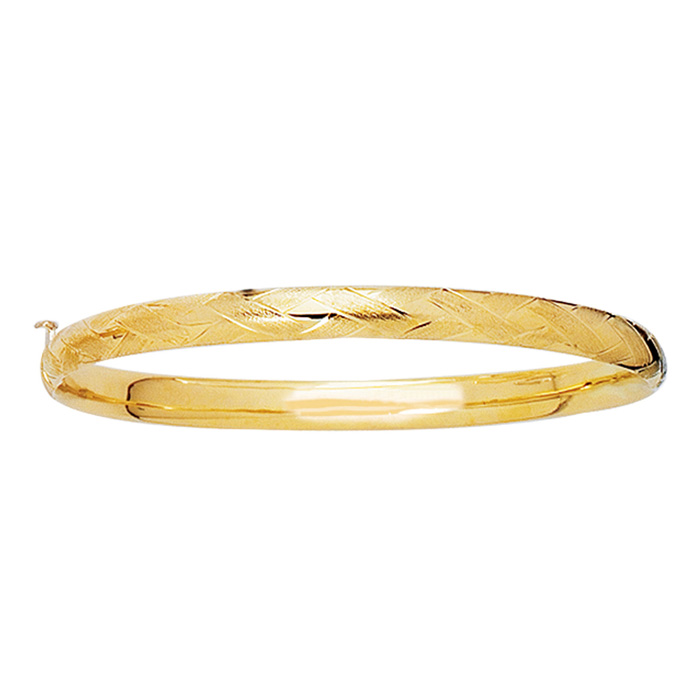14K Yellow Gold (3.3 g) 5.5mm 5.50 Inch Childrens Shiny Diamond Cut Florentine Bangle Bracelet by SuperJeweler