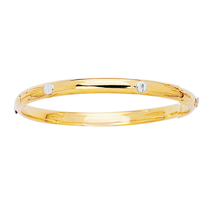 14K Yellow & White Gold (3.5 g) 5.5mm 5.50 Inch Childrens All Shiny Bangle Bracelet w/ White Nail Head by SuperJeweler