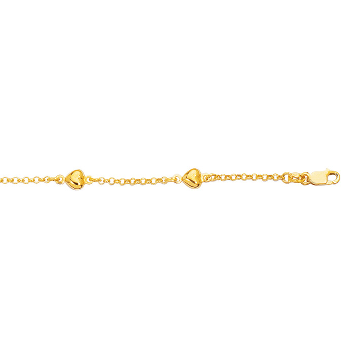 14K Yellow Gold (3.6 g) 6 Inch Children's Shiny Rolo Chain Link & Puffed Heart Bracelet by SuperJeweler