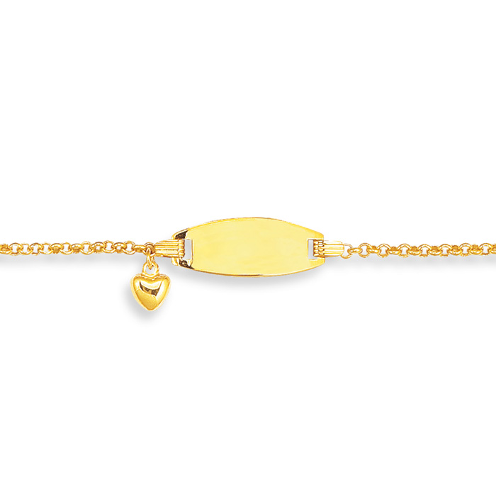 14K Yellow Gold (2.1 g) 6 Inch Childrens Shiny Round Cable Link I