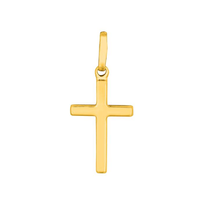 Image of 14 Karat Yellow Gold All Shiny Small Cross Pendant