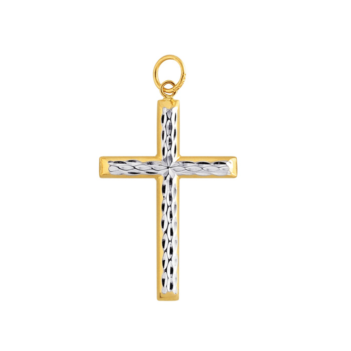 14K Yellow & White Gold (1.6 g) 37x20.5mm Shiny Diamond Cut Fancy Cross Pendant Necklace by SuperJeweler