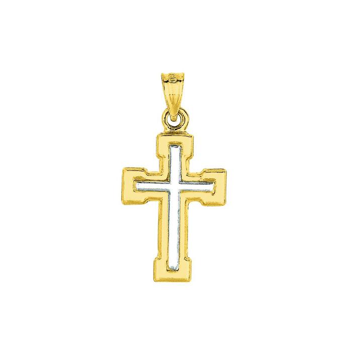 Image of 14 Karat Yellow & White Gold 26x13.5mm Shiny Small White Cross Pendant in Yellow Cross