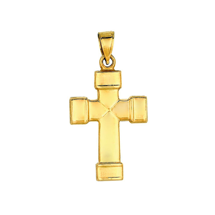 Image of 14 Karat Yellow Gold 31x16.6mm All Shiny Small Fancy Cross Pendant