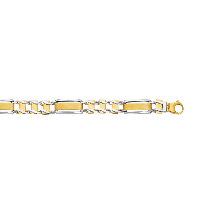 14K Yellow & White Gold (17.9 g) 8.5 Inch Shiny Railroad Type Mens Rolex Chain Bracelet by SuperJeweler