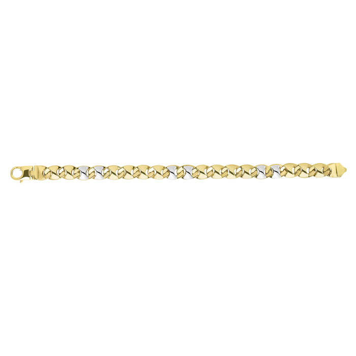 14K Yellow & White Gold (21.7 g) 9.0mm 8.5 Inch Shiny Puff Marquise-Shaped Mariner Link Mens Chain Bracelet by SuperJeweler