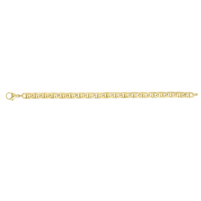 14K Yellow Gold (10.5 g) 5.0mm 8.5 Inch Shiny Square Tube Mariner Style Link Mens Chain Bracelet by SuperJeweler