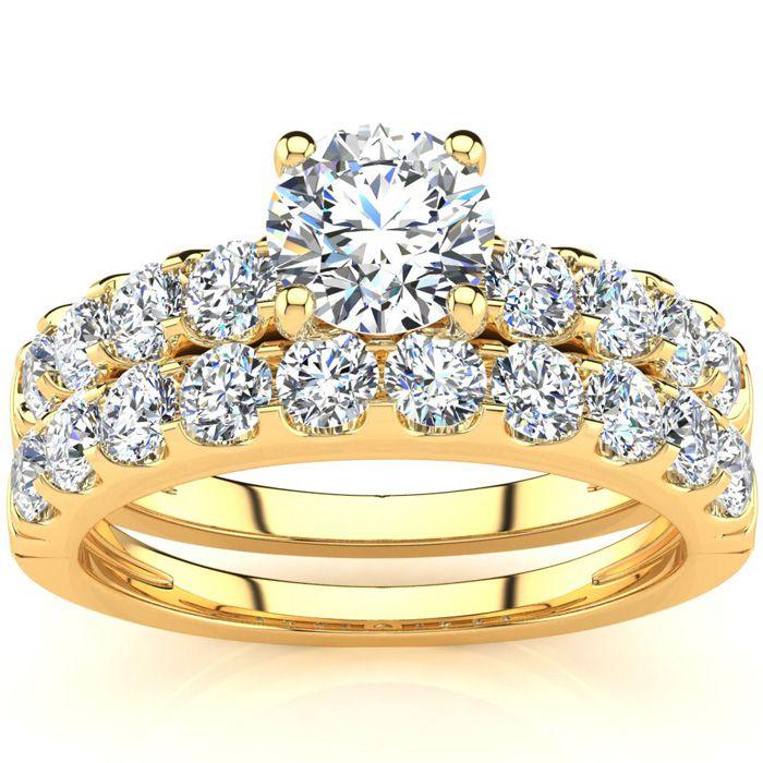 2 Carat Round Center Engagement Ring & Wedding Band Set in 14K Ye