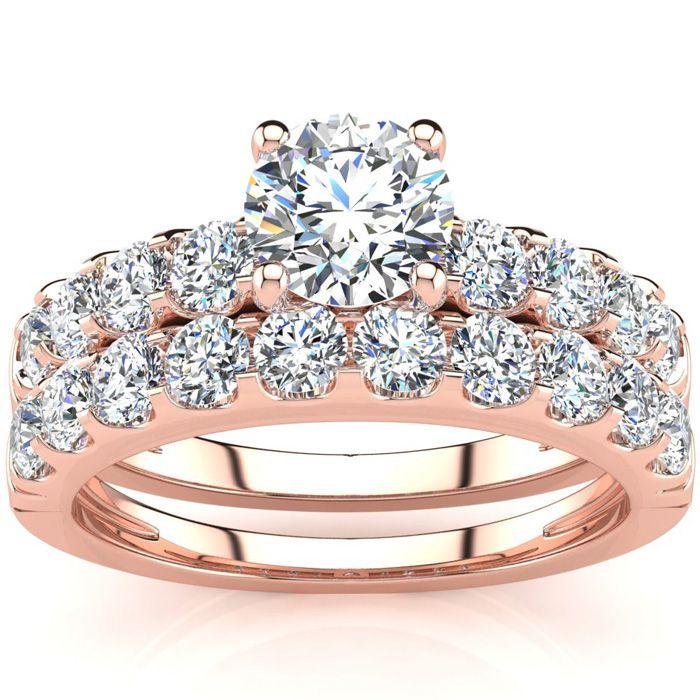 2 Carat Round Center Engagement Ring & Wedding Band Set in 14K Ro