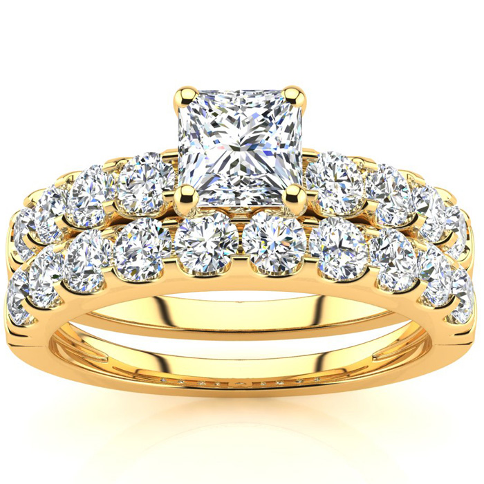2 Carat Princess Center Engagement Ring & Wedding Band Set in 14K