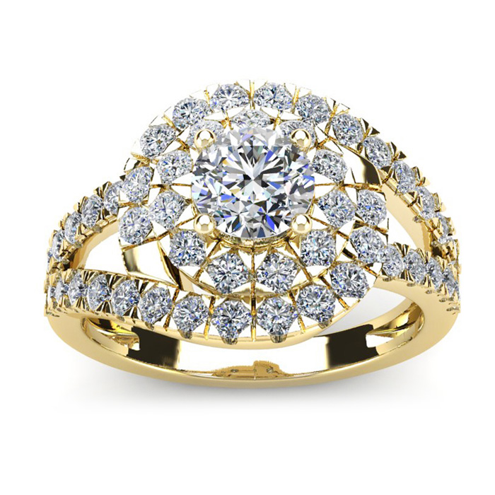 2 1/4 Carat Bypass Round Halo Diamond Engagement Ring in 14K Yellow Gold (5.8 g) (I-J, I1-I2 Clarity Enhanced) by SuperJeweler