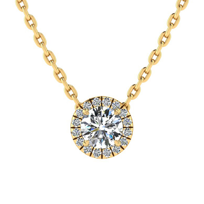 1/2 Carat Halo Diamond Necklace in 14K Yellow Gold (1.5 g), H/I,