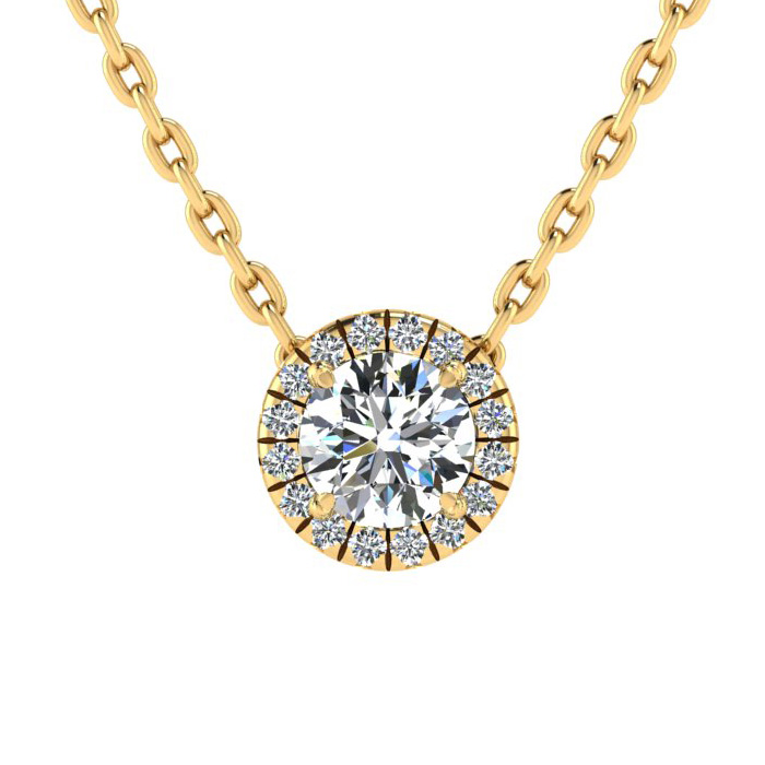 7/8 Carat Halo Diamond Necklace in 14K Yellow Gold (2.1 g), H/I,