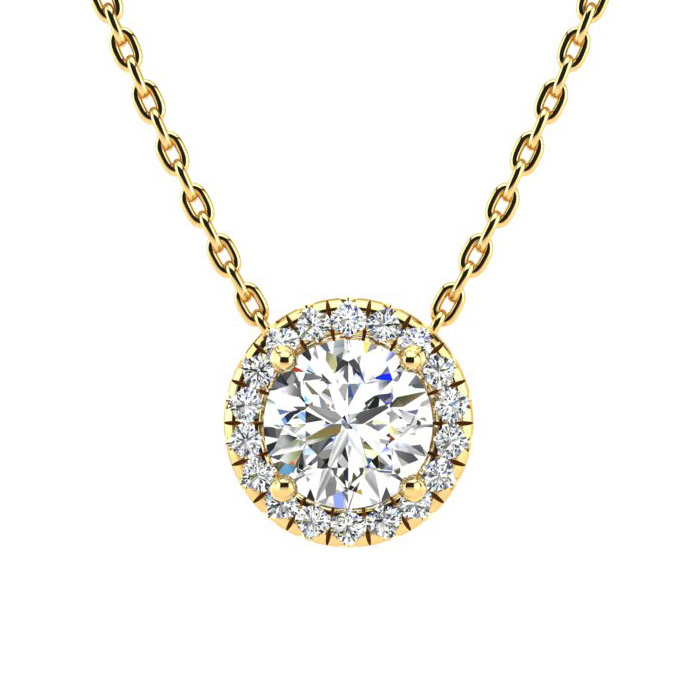 1 1/5 Carat Halo Diamond Necklace in 14K Yellow Gold (205 g), H/I