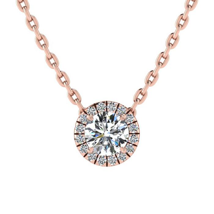 1/2 Carat Halo Diamond Necklace in 14K Rose Gold (1.5 g), H/I, 18