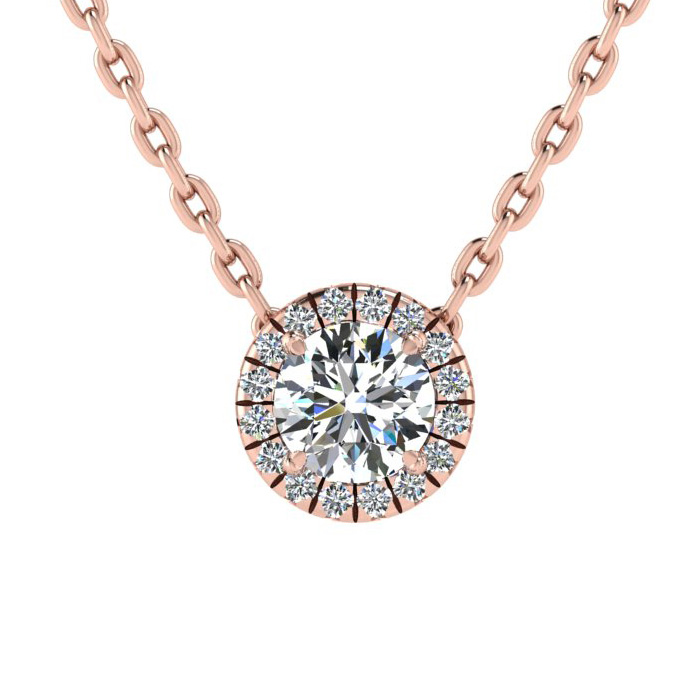 7/8 Carat Halo Diamond Necklace in 14K Rose Gold (2.1 g), H/I, 18