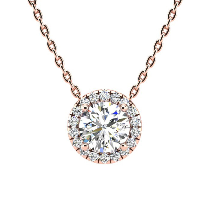 1 1/5 Carat Halo Diamond Necklace in 14K Rose Gold (205 g), H/I,
