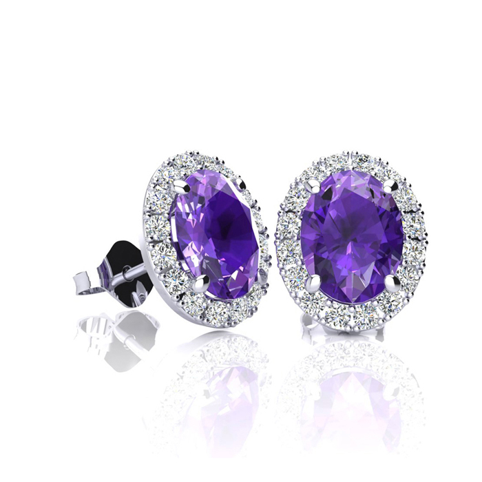 1 Carat Oval Shape Amethyst & Halo Diamond Stud Earrings in 14K W