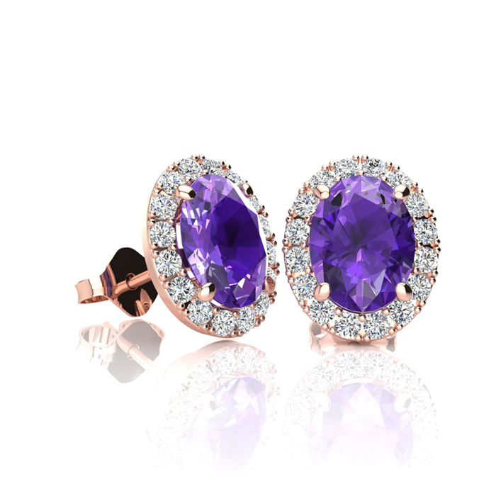 1 Carat Oval Shape Amethyst & Halo Diamond Stud Earrings in 14K R