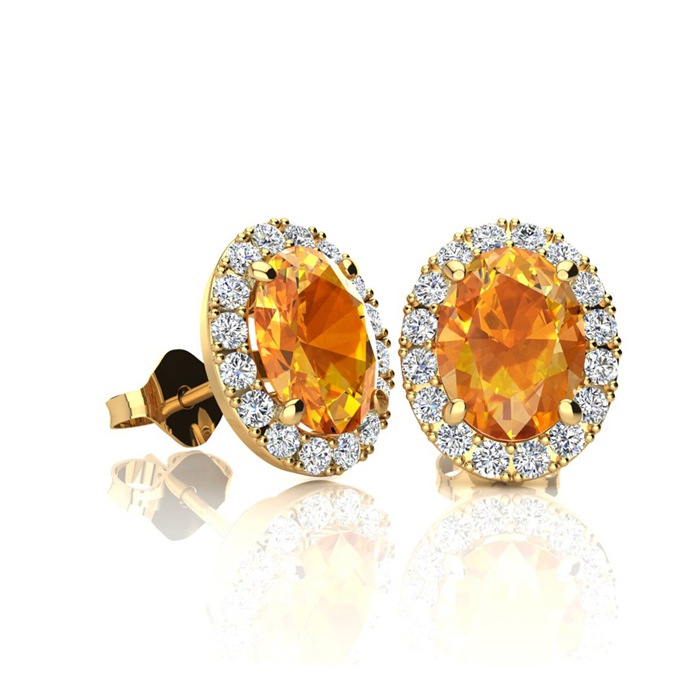 1 Carat Oval Shape Citrine & Halo Diamond Stud Earrings in 14K Ye