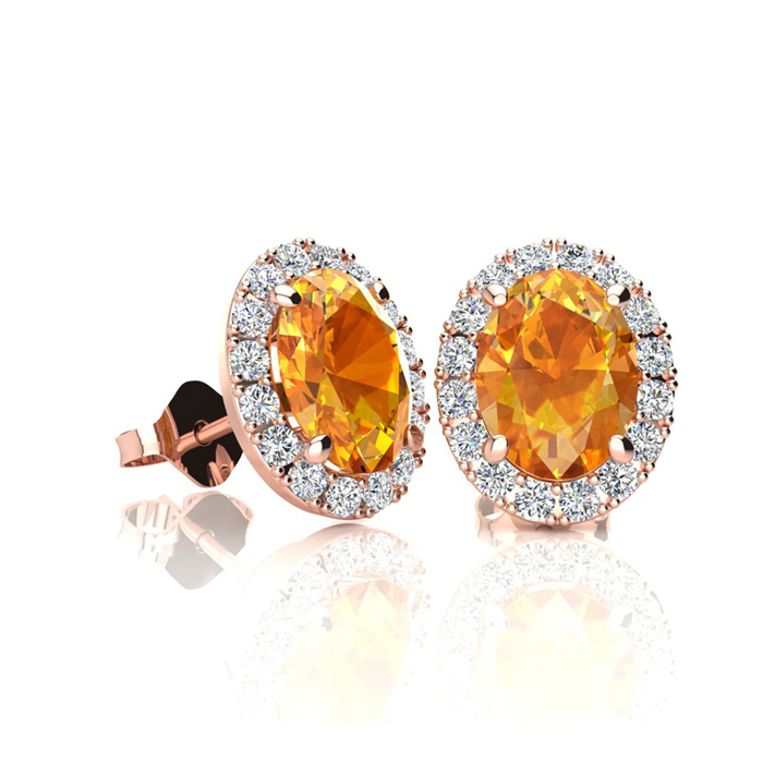 1 Carat Oval Shape Citrine & Halo Diamond Stud Earrings in 14K Ro