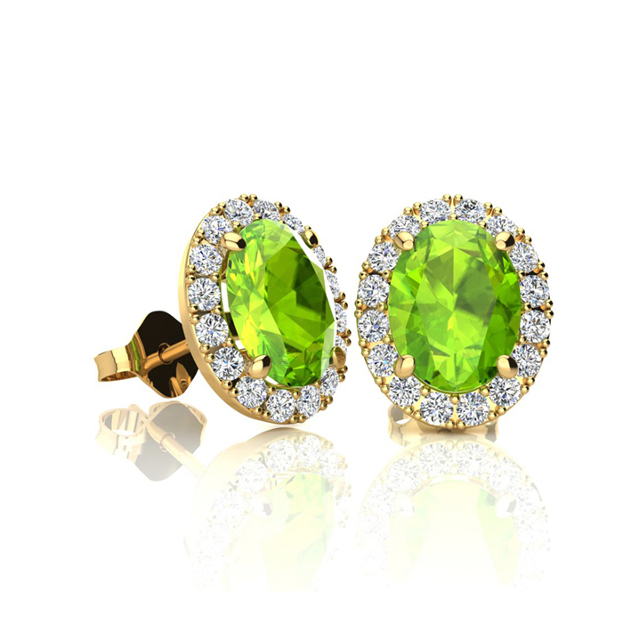 1 Carat Oval Shape Peridot & Halo Diamond Stud Earrings in 14K Ye