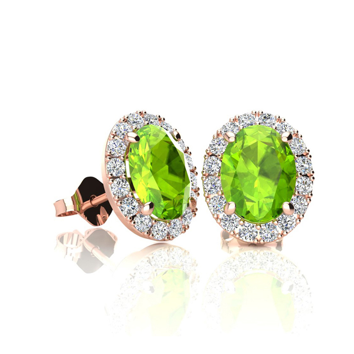 1 Carat Oval Shape Peridot & Halo Diamond Stud Earrings in 14K Ro
