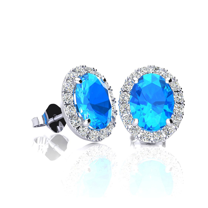 1.25 Carat Oval Shape Blue Topaz & Halo Diamond Stud Earrings in