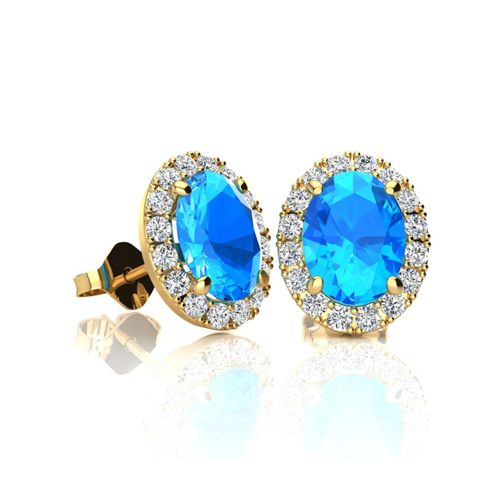 1.25 Carat Oval Shape Blue Topaz & Halo Diamond Stud Earrings in 14K Yellow Gold, I/J by SuperJeweler
