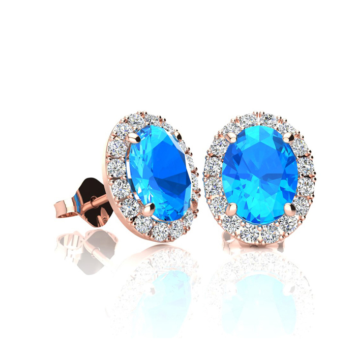 1.25 Carat Oval Shape Blue Topaz & Halo Diamond Stud Earrings in 14K Rose Gold, I/J by SuperJeweler
