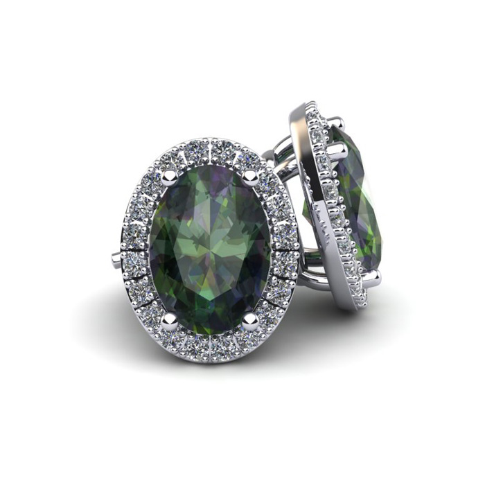 1.25 Carat Oval Shape Mystic Topaz & Halo Diamond Stud Earrings i