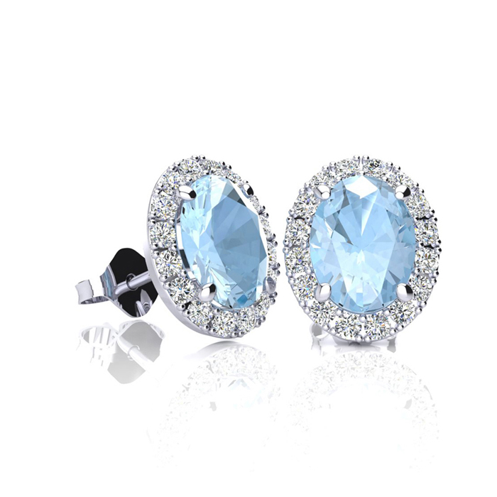 1 Carat Oval Shape Aquamarine & Halo Diamond Stud Earrings in 14K White Gold, I/J by SuperJeweler