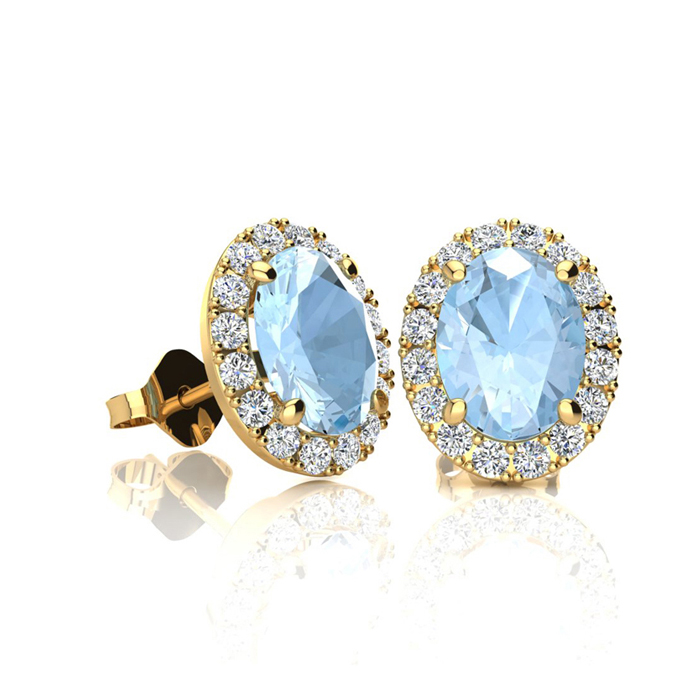 1 Carat Oval Shape Aquamarine & Halo Diamond Stud Earrings in 14K