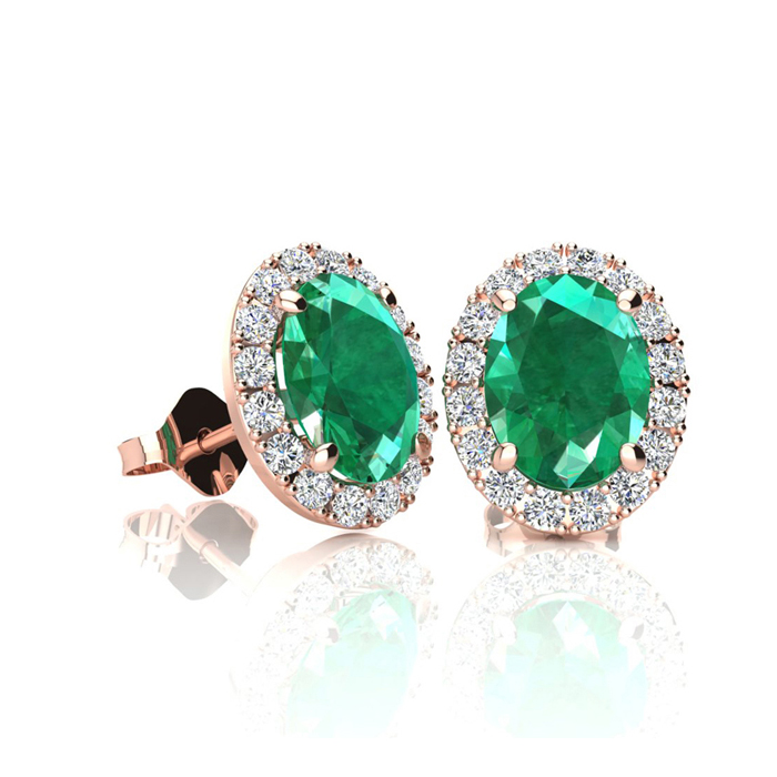 1 Carat Oval Shape Emerald Cut & Halo Diamond Stud Earrings in 14