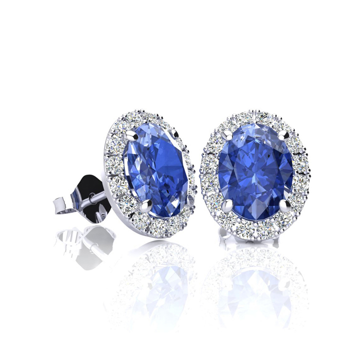 1.25 Carat Oval Shape Tanzanite & Halo Diamond Stud Earrings in 1